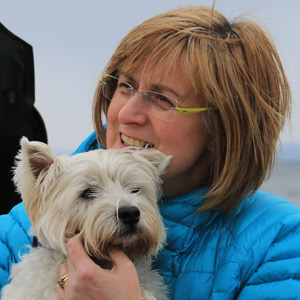 Alison Page Author with Corrie the Westie